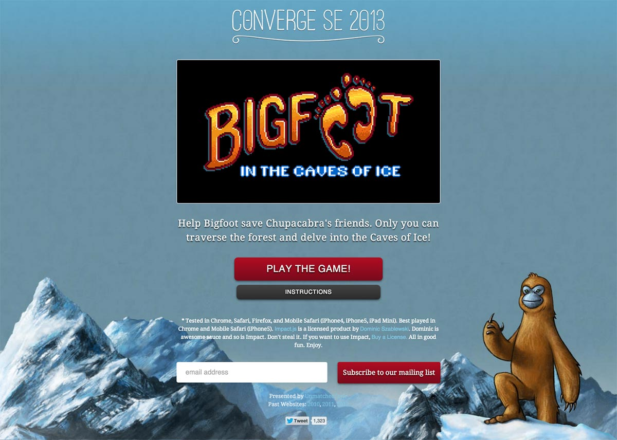 Bigfoot in the Caves of Ice Game Page